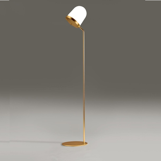 lampadaire lula metal dor abat jour en verre souffl blanc. Black Bedroom Furniture Sets. Home Design Ideas